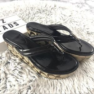 Coach Nella Patent Leather Thong Wedge Sandals
